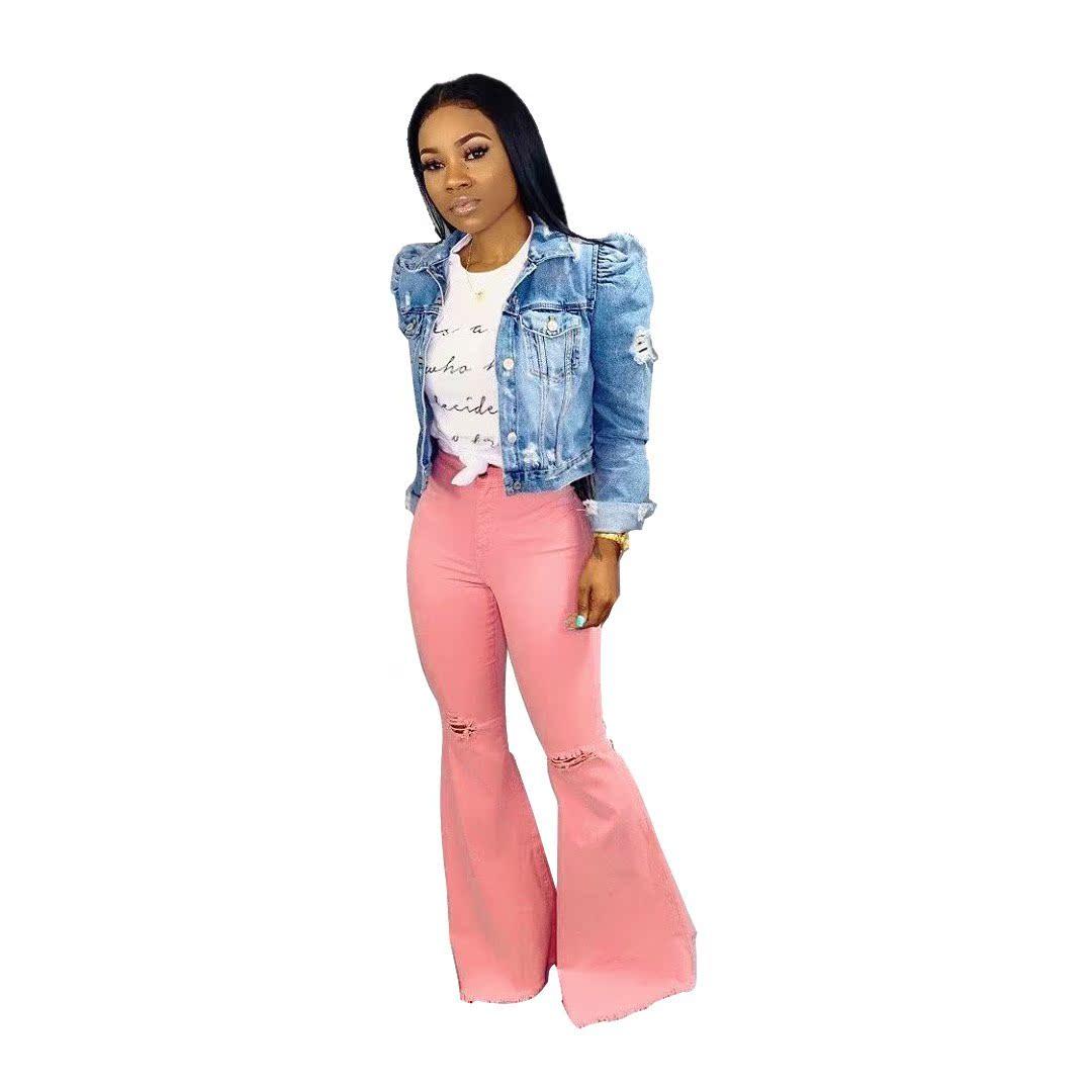 粉红色牛仔裤 新款时尚阔腿裤高腰破洞长裤喇叭牛仔裤粉红色高弹女裤_推荐淘宝好看的粉红色牛仔裤