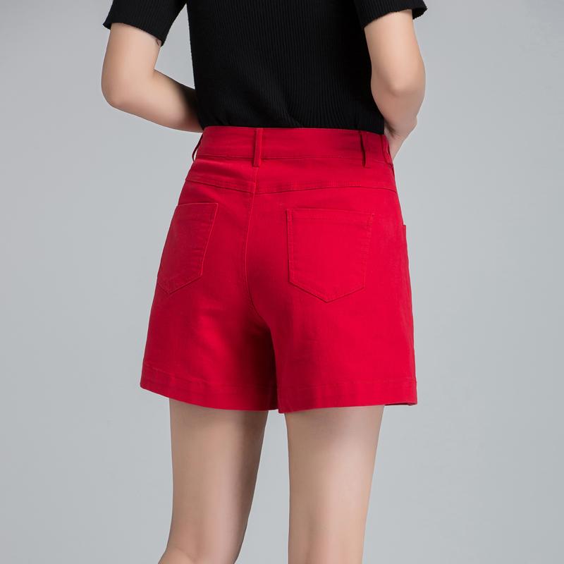 红色牛仔裤 妈妈牛仔短裤女夏季新款外穿纯棉牛仔裤裤子高腰红色阔腿裤四分裤_推荐淘宝好看的红色牛仔裤