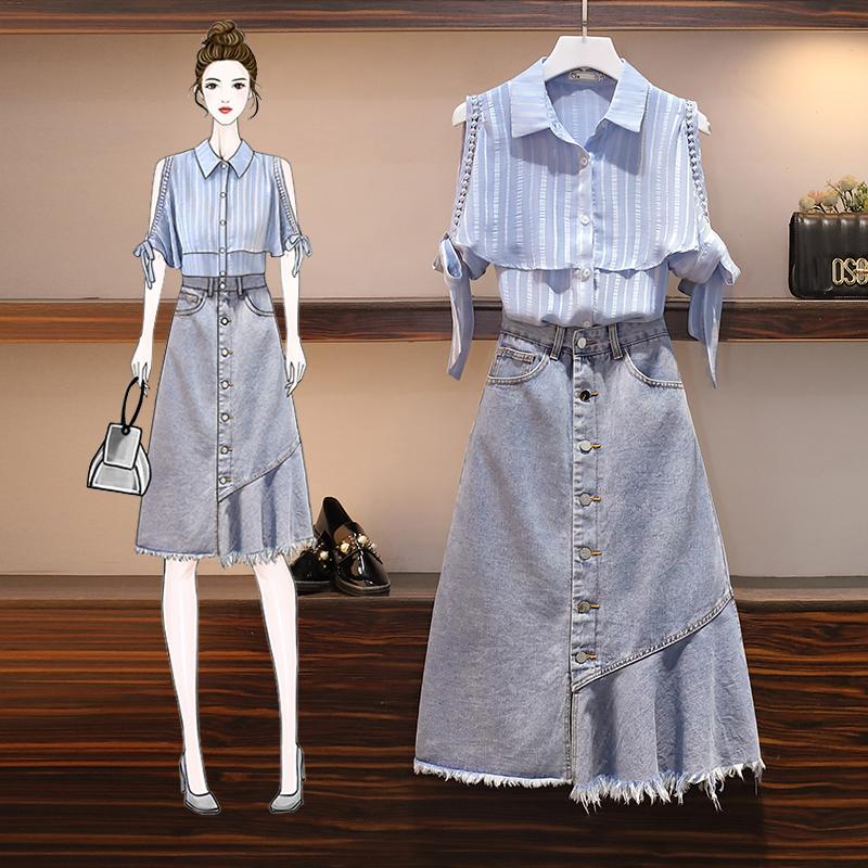半身裙 大码胖妹妹2020夏新款洋气减龄遮肚显瘦衬衫牛仔半身裙两件套装女_推荐淘宝好看的半身裙