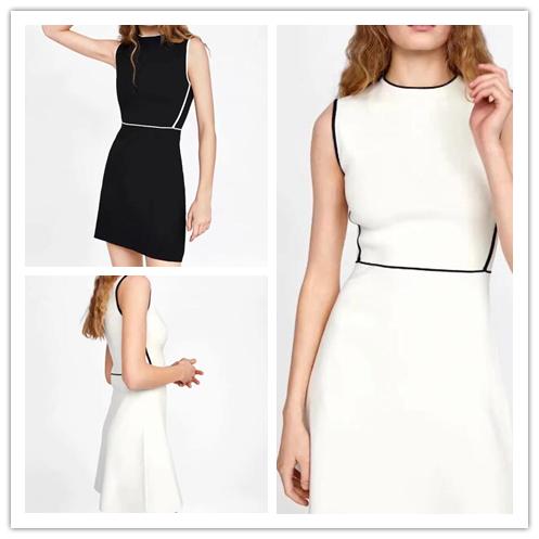 夏装连衣裙 西班牙单 现货 2020春夏装新款黑白撞色饰边无袖连衣裙 6254003_推荐淘宝好看的夏装连衣裙