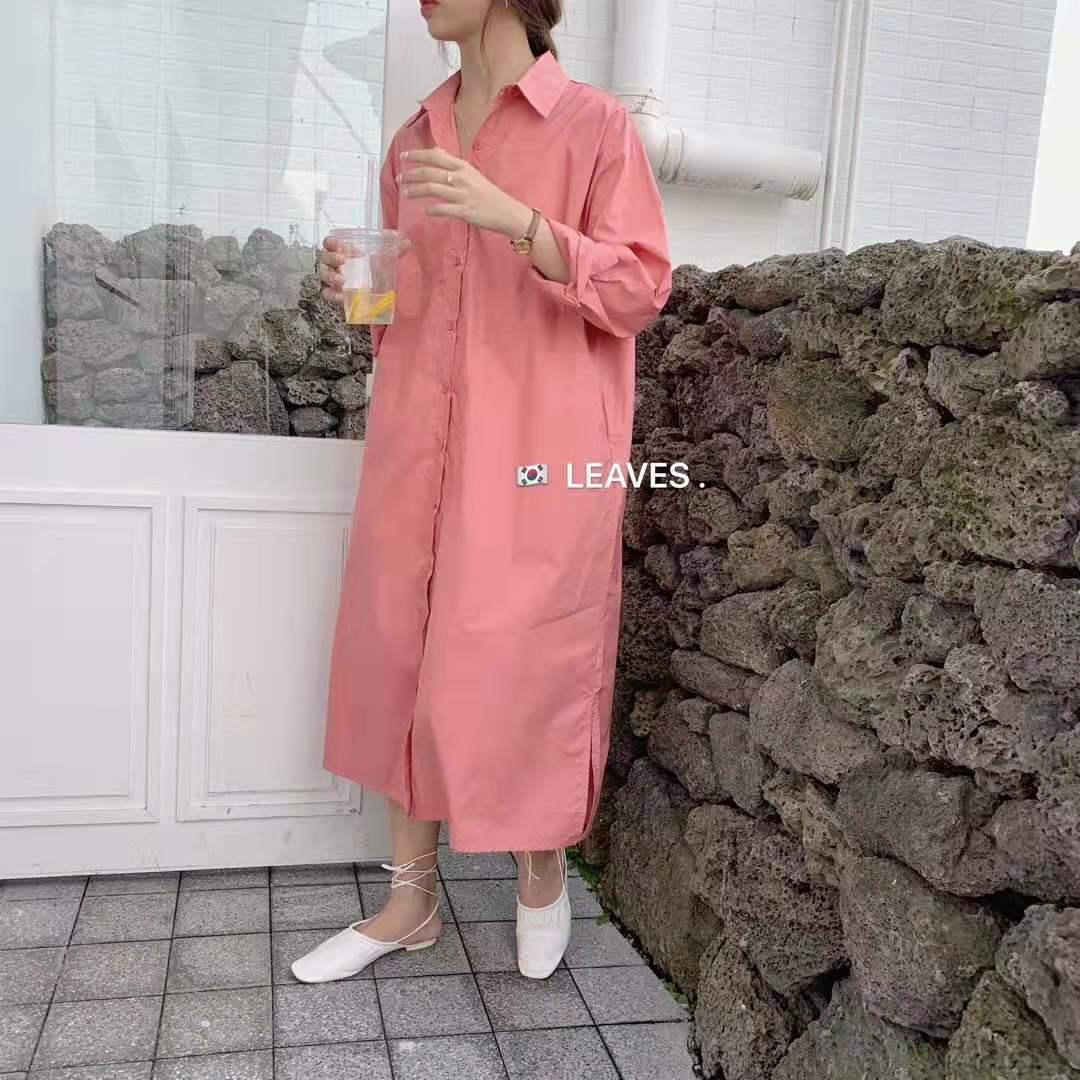 女士长款衬衫 韩国LEAVES秋装新品衬衫裙小清新长袖长款纯色衬衫连衣裙女配腰带_推荐淘宝好看的女长款衬衫