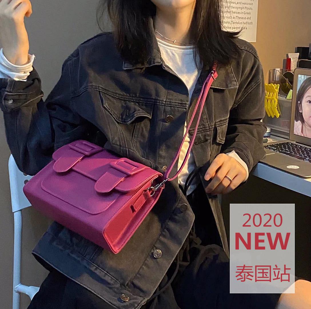 紫色邮差包 2020泰国剑桥包明星同款ins小众邮差包拼色斜挎包M号_推荐淘宝好看的紫色邮差包