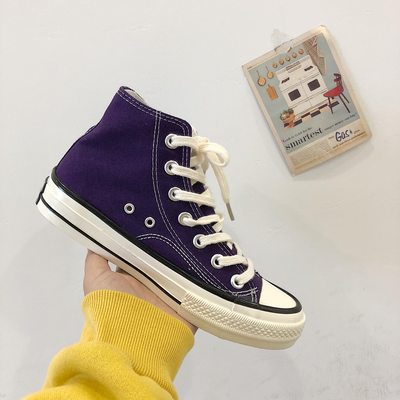 紫色高帮鞋 兔兔宋 韩国街拍万年经典款复古1970s紫色学生高帮情侣帆布鞋男女_推荐淘宝好看的紫色高帮鞋