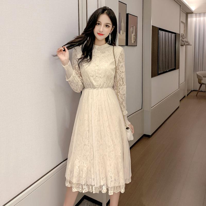 蕾丝连衣裙 经典款 2020春装新款很仙的长袖蕾丝连衣裙女网红甜美egg裙法式过膝长裙_推荐淘宝好看的蕾丝连衣裙