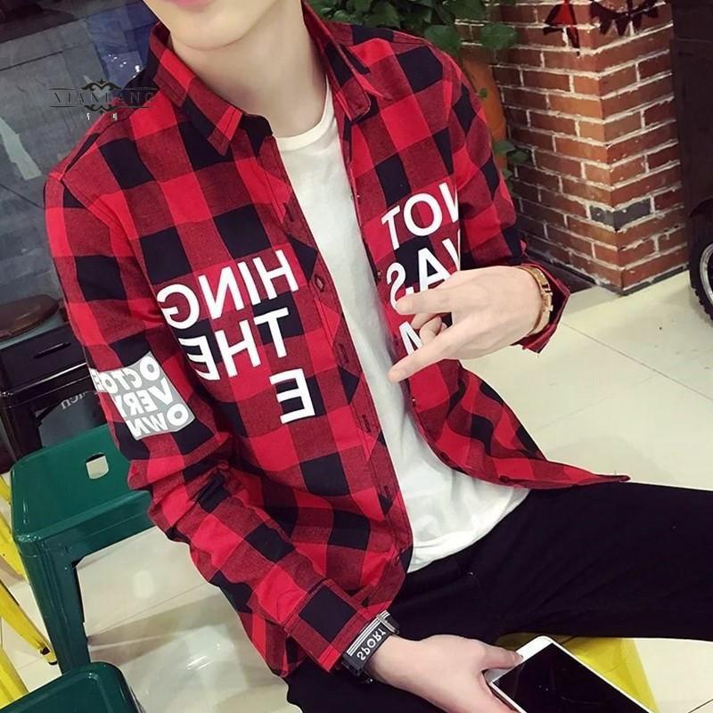 男士衬衫 秋季青少年夏天学生韩版长袖格子衬衫寸衫衬衣服男装薄款外套2019_推荐淘宝好看的男衬衫
