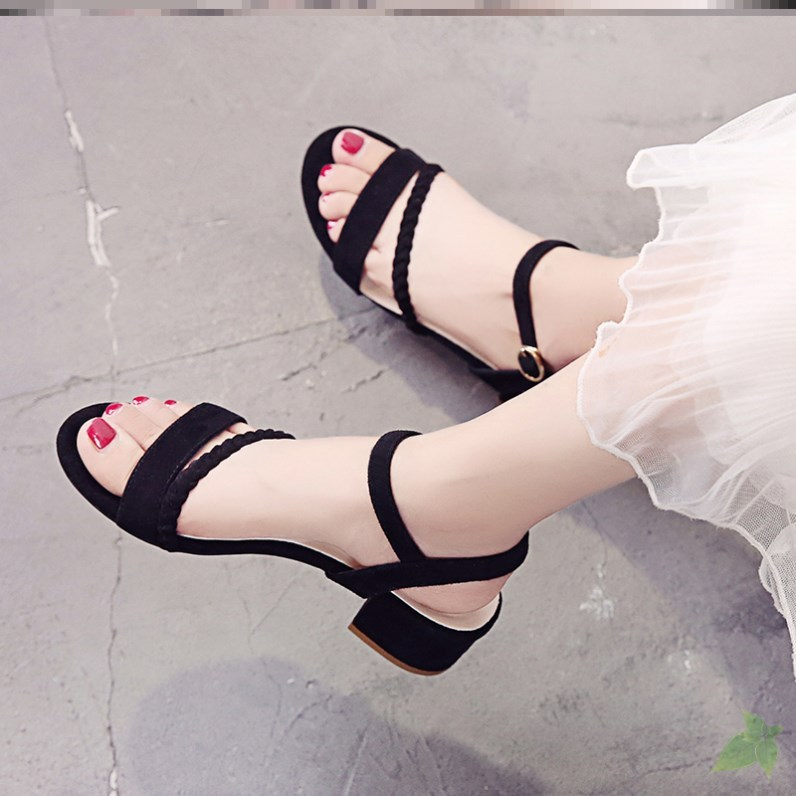 粉红色凉鞋 凉鞋女ins仙女风拖鞋女外穿夏季潮流凉鞋女粗跟一字带透气粉红色_推荐淘宝好看的粉红色凉鞋