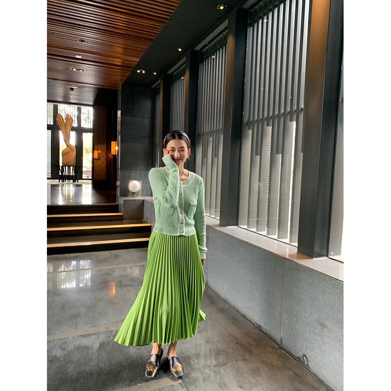 绿色雪纺半身裙搭配 绿色百褶裙2021新款A字裙长款亚麻雪纺百褶半身裙春夏_推荐淘宝好看的绿色雪纺半身裙