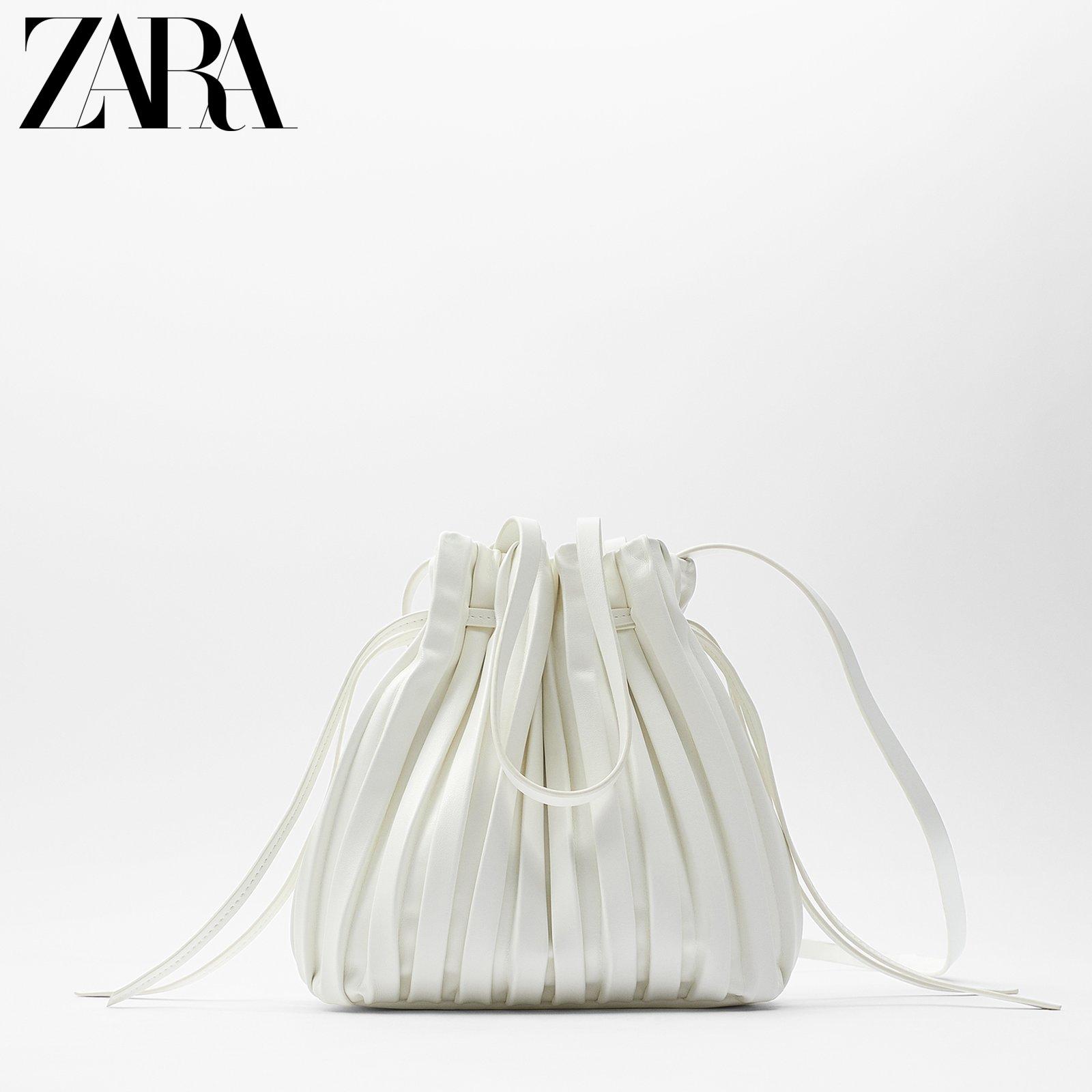 白色水桶包 ZARA女包2021新款简约白色小打褶迷你束口斜挎包时尚手提包水桶包_推荐淘宝好看的白色水桶包