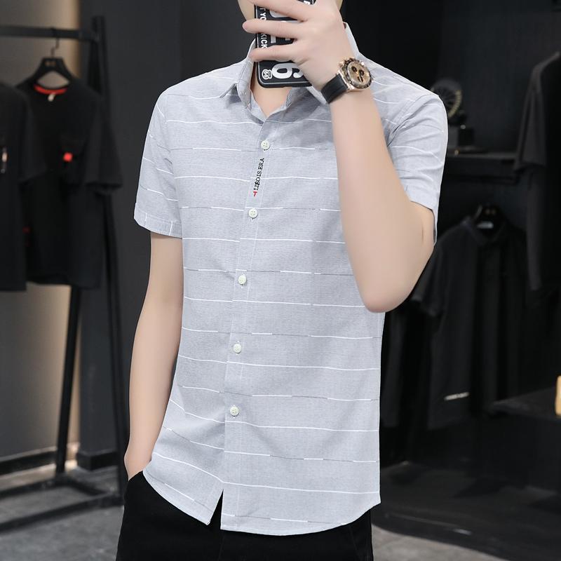 男士衬衫 短袖衬衫男2020新款春季休闲潮流韩版纯色上衣衬衣男潮帅气寸衫_推荐淘宝好看的男衬衫