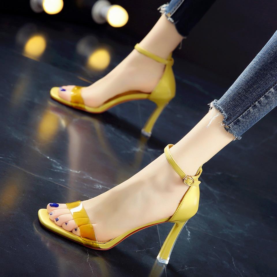 黄色凉鞋 韩版19春季新款黄色简约鱼嘴鞋细跟高跟鞋一字扣带中空露趾凉鞋女_推荐淘宝好看的黄色凉鞋