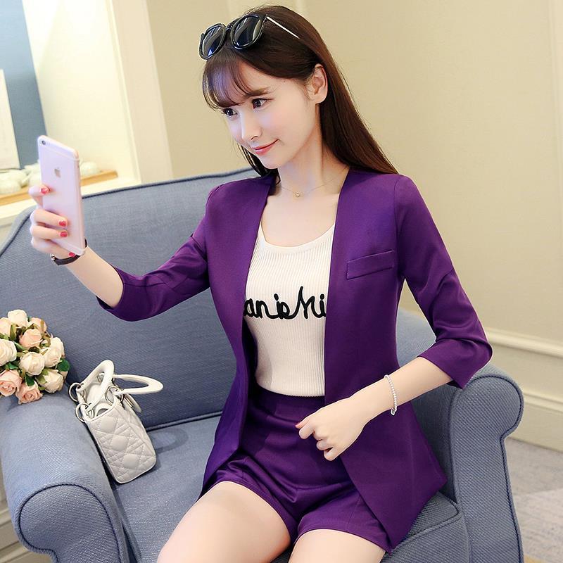 紫色小西装 时尚套装女2021春新款名媛小香风紫色西装套装气质小西服外套短款_推荐淘宝好看的紫色小西装