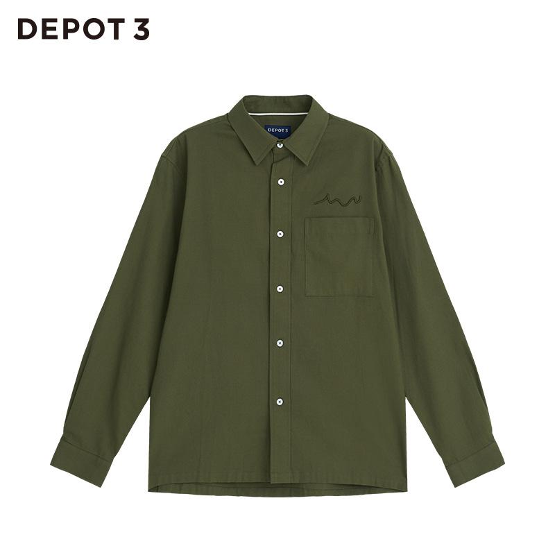 男士衬衫 DEPOT3男装衬衫设计品牌2020新品曲线立体绣花牛津纺工装长袖衬衫_推荐淘宝好看的男衬衫
