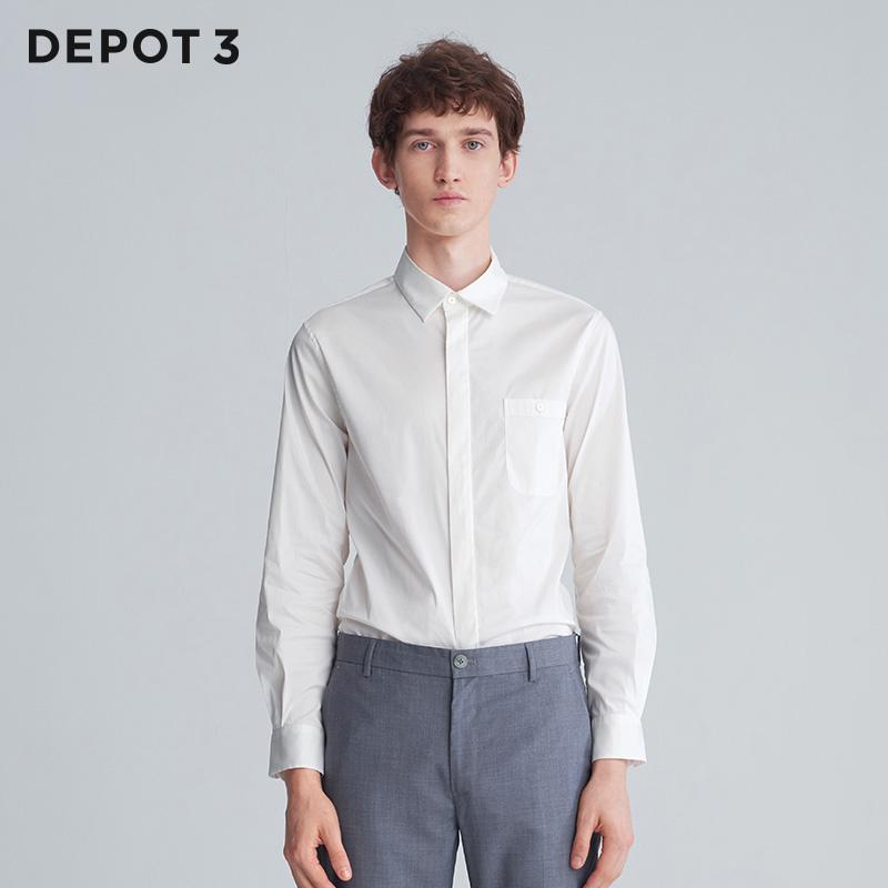 男士衬衫 DEPOT3 男装衬衫 设计品牌2020新品时尚休闲经典简约修身长袖衬衫_推荐淘宝好看的男衬衫