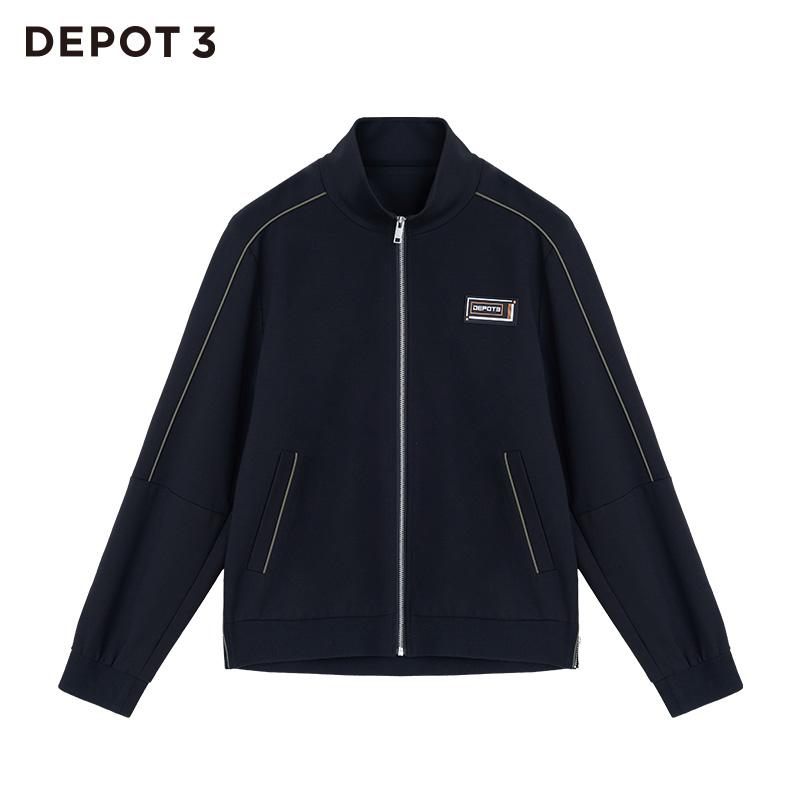 针织夹克 DEPOT3 男装夹克 原创设计品牌时尚标志重磅针织棒球夹克_推荐淘宝好看的男针织夹克