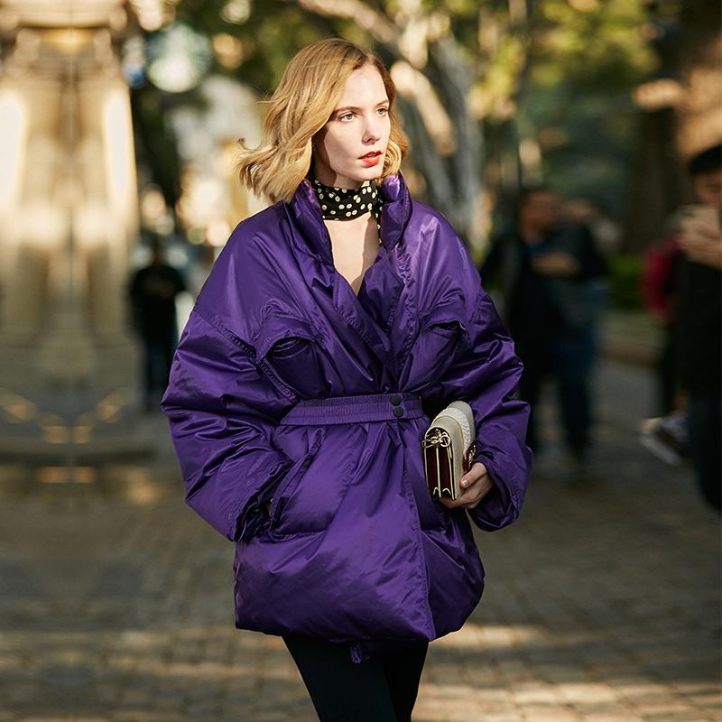 紫色羽绒服 法式气质高端羽绒服女貌美紫色优雅冬装90高绒保暖外套新品_推荐淘宝好看的紫色羽绒服