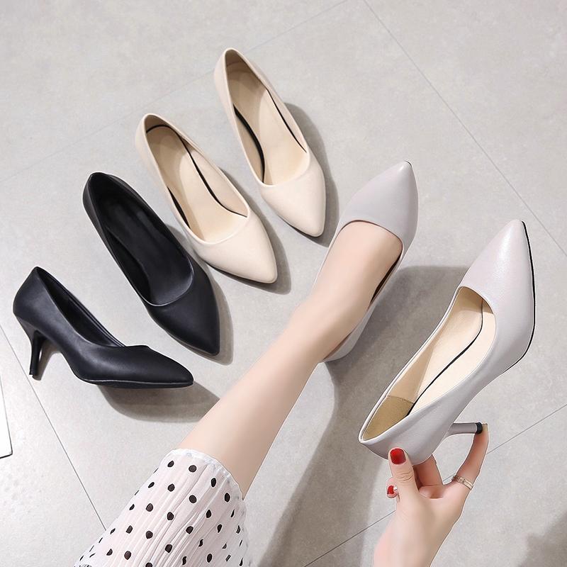 黑色高跟鞋 工作鞋女黑色皮鞋空乘高跟鞋春百搭单鞋细跟职业工装面试女鞋小码_推荐淘宝好看的黑色高跟鞋