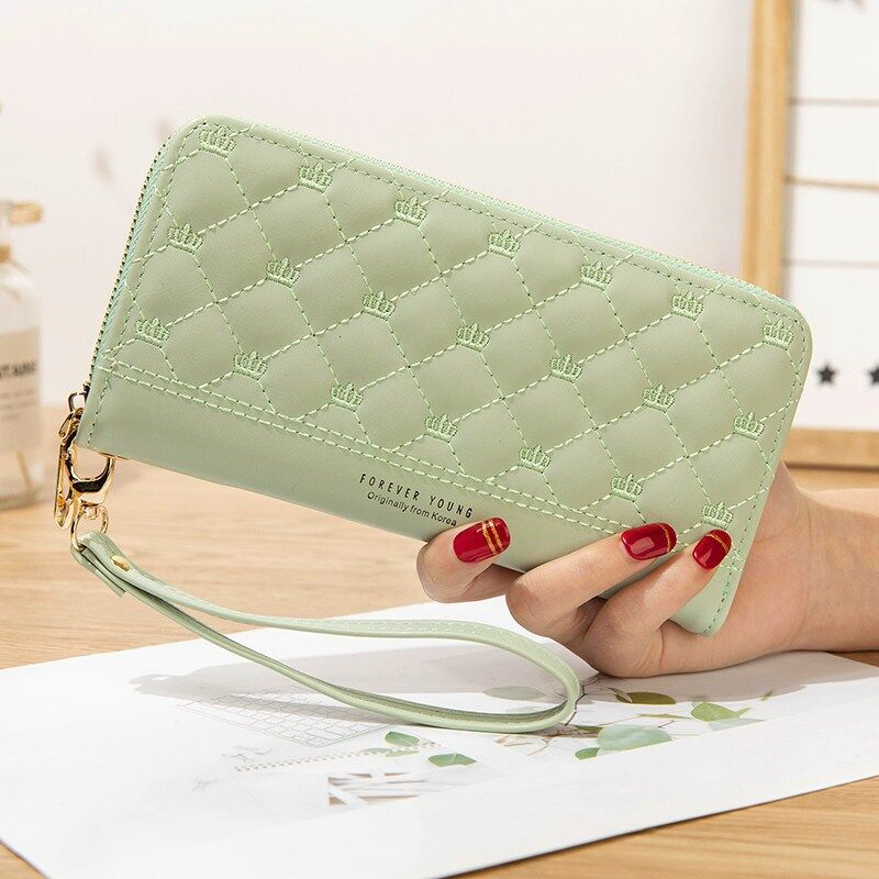 绿色手拿包 钱包女可爱日系少女心2020新款时尚大气手拿包女简约ins长款皮夹_推荐淘宝好看的绿色手拿包