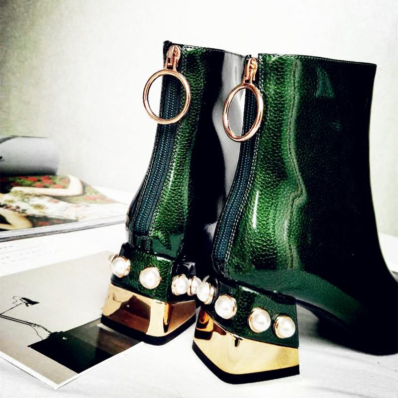 绿色高跟鞋 秋冬季女鞋2020新款潮珍珠高跟粗跟绿色短靴子大码韩版马丁靴时尚_推荐淘宝好看的绿色高跟鞋