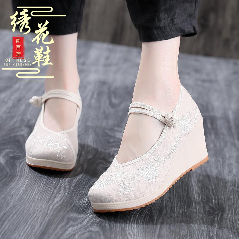 女性高跟鞋 新款老北京布鞋女高跟盘扣民族风绣花女坡跟古装汉服单布鞋_推荐淘宝好看的女高跟鞋