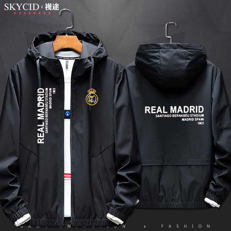 休闲夹克 皇家马德里Real Madrid西甲皇马休闲卫衣外套连帽衣服夹克男女_推荐淘宝好看的男休闲夹克