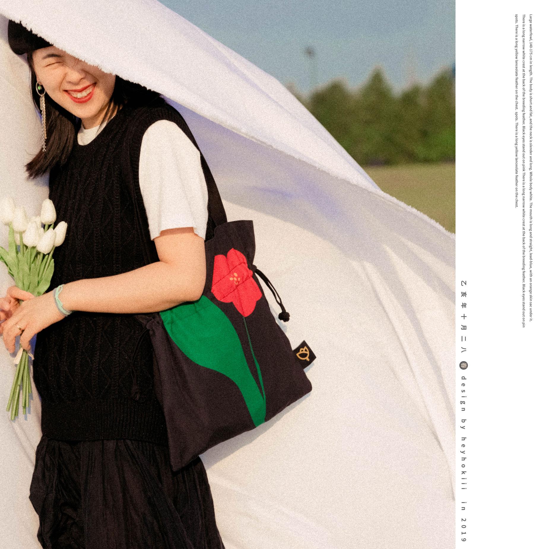 黑色帆布包 何几原创设计黑色单肩托特包包女茶梅抽绳单肩包学院休闲帆布包_推荐淘宝好看的黑色帆布包