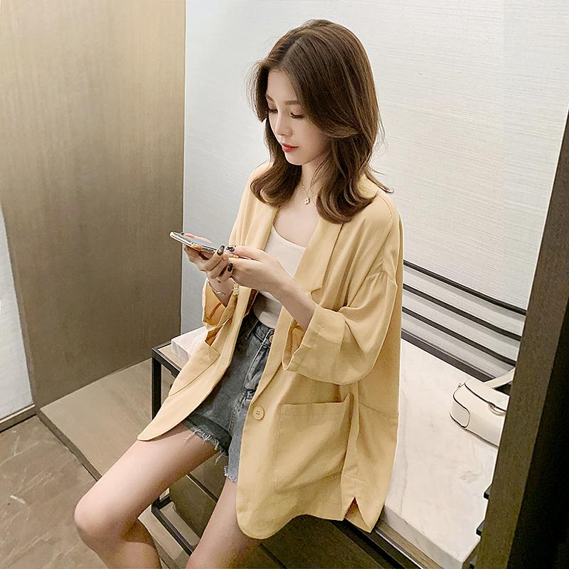 黄色小西装 黄色薄款小西装外套女2021夏季新款韩版网红雪纺休闲西服垂感气质_推荐淘宝好看的黄色小西装