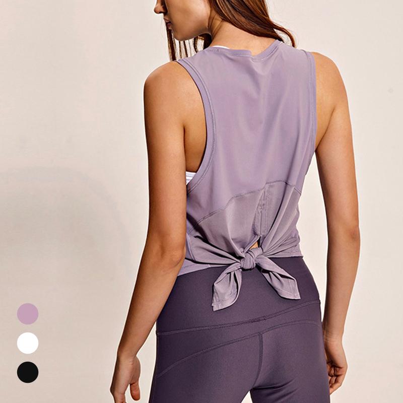 紫色背心 钢铁小怪兽后背开叉打结运动跑步瑜伽健身宽松罩衫背心女黑白紫色_推荐淘宝好看的紫色背心