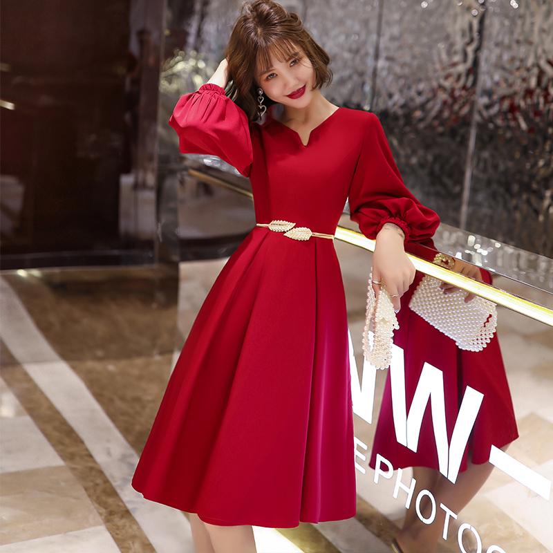 红色连衣裙 敬酒服新娘结婚回门便装平时可穿红色小晚礼服女气质宴会夏连衣裙_推荐淘宝好看的红色连衣裙