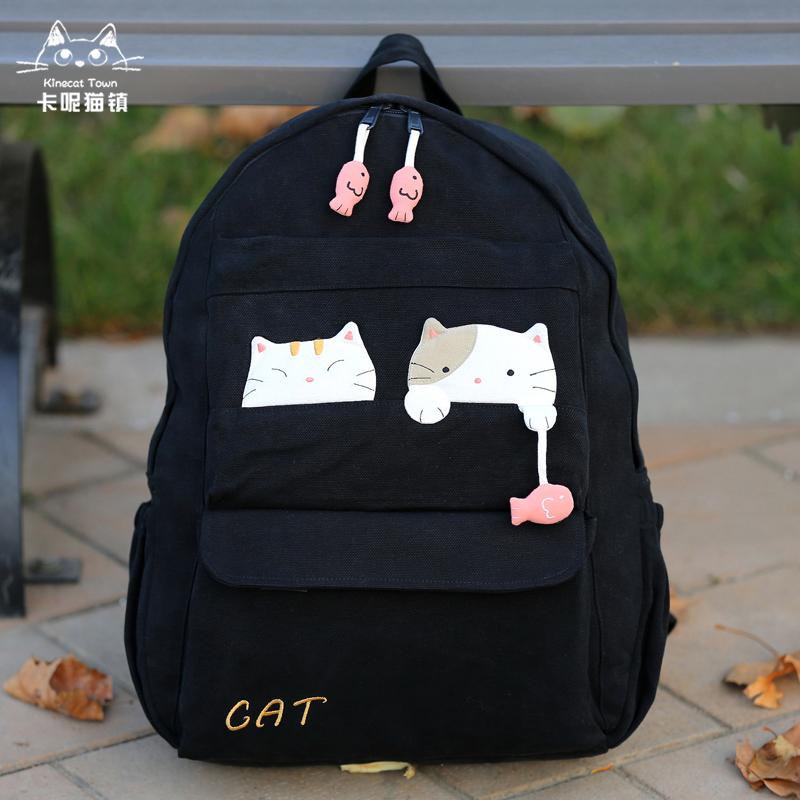 学生帆布包 日本设计kine猫正品卡通纯棉帆布旅行双肩背包大初高中学生书包女_推荐淘宝好看的女学生帆布包
