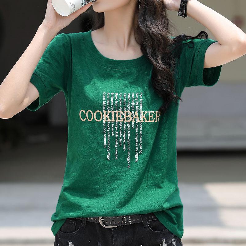 绿色T恤 夏装2021年新款绿色宽松大码短袖t恤女纯棉印花女装半袖体桖上衣_推荐淘宝好看的绿色T恤