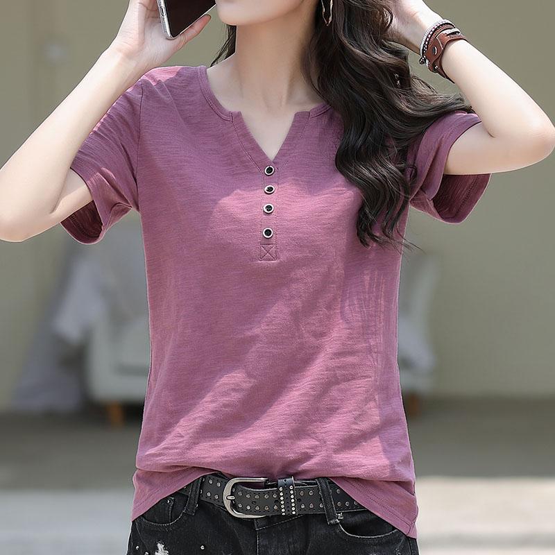 紫色T恤 短袖T恤女宽松大码韩版夏装2021年新款V领紫色纯棉半袖女装体桖潮_推荐淘宝好看的紫色T恤