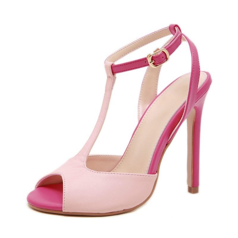 粉红色凉鞋 ebay亚马逊2019欧美高跟款女士粉红色一字式扣带鱼嘴细跟秋季凉鞋_推荐淘宝好看的粉红色凉鞋