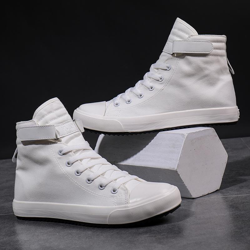白色高帮鞋 秋季男士白色布鞋韩版加绒高帮帆布鞋休闲板鞋学生男高腰棉鞋冬鞋_推荐淘宝好看的白色高帮鞋