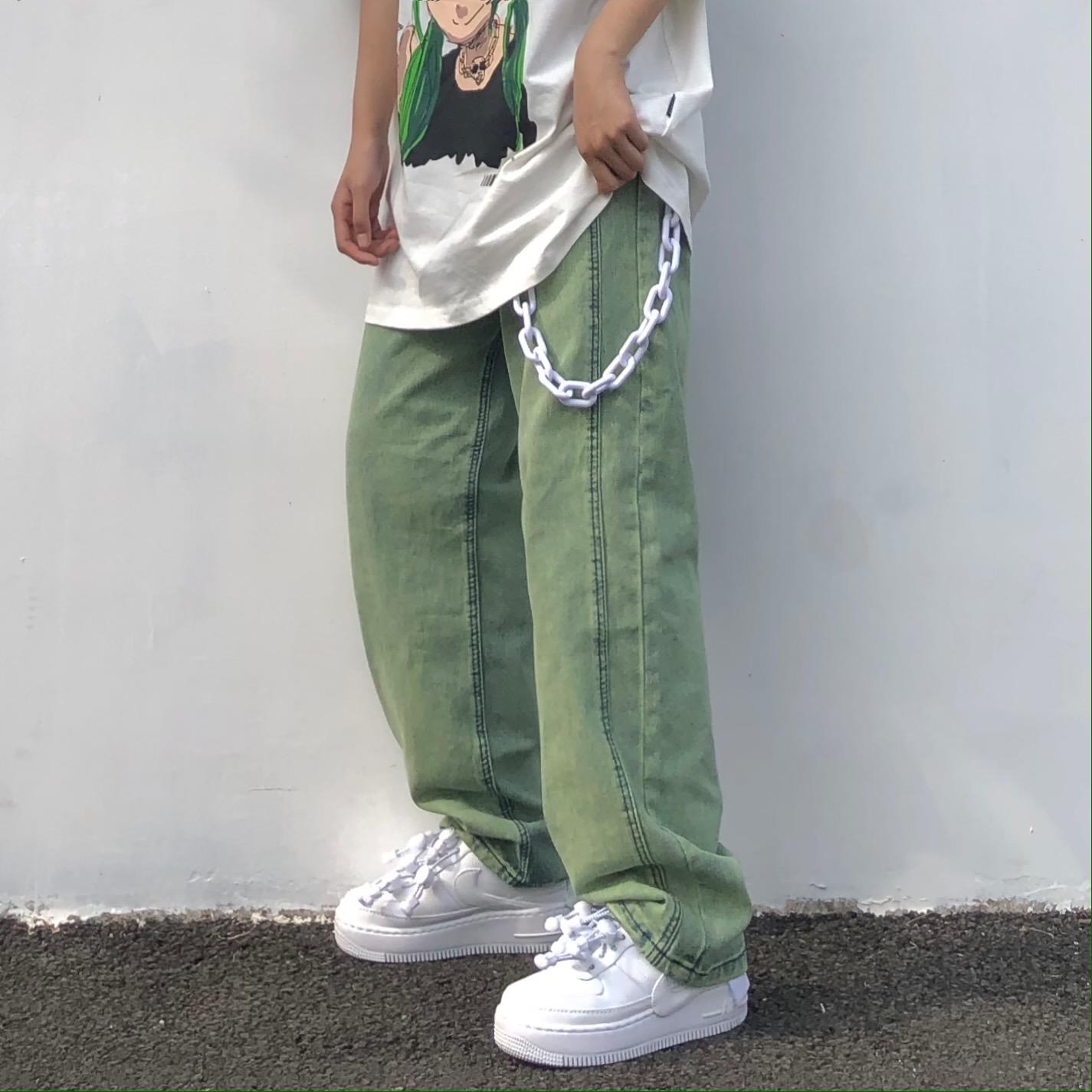 绿色牛仔裤 珍珍很懒 宽松直筒阔腿裤绿色洗水炒色休闲国潮立体剪裁牛仔裤女_推荐淘宝好看的绿色牛仔裤