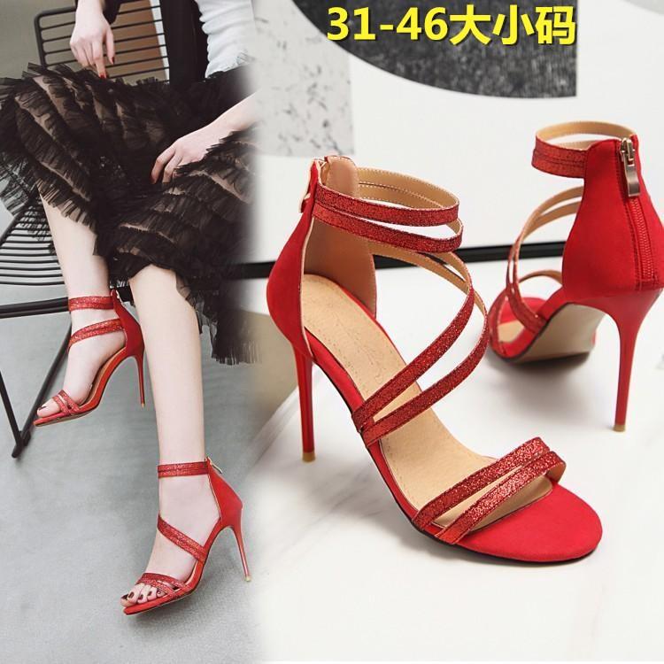 粉红色凉鞋 细带亮片大红色细高跟婚鞋粉红小码伴娘女性感跳舞蹈演出凉鞋大码_推荐淘宝好看的粉红色凉鞋