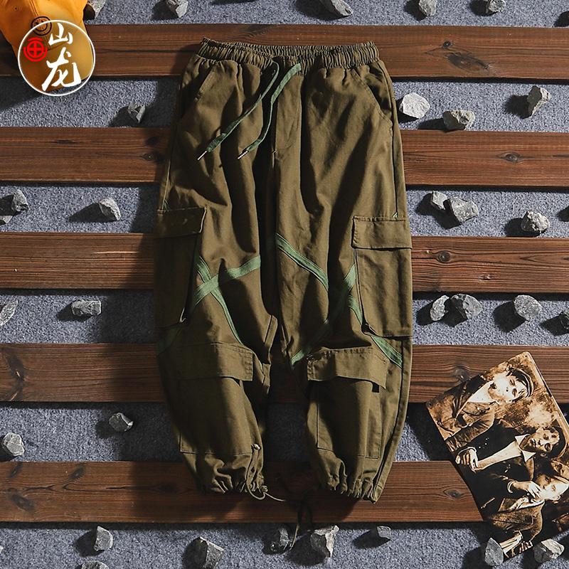 绿色牛仔裤 日系复古文艺青少年束脚牛仔裤男港风街头文乐宽松工装裤男士潮流_推荐淘宝好看的绿色牛仔裤