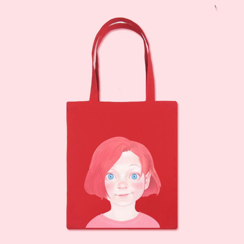 粉红色手提包 粉红女孩文艺复古原宿帆布包手提单肩韩版ins紫色 红色黑白托特包_推荐淘宝好看的粉红色手提包