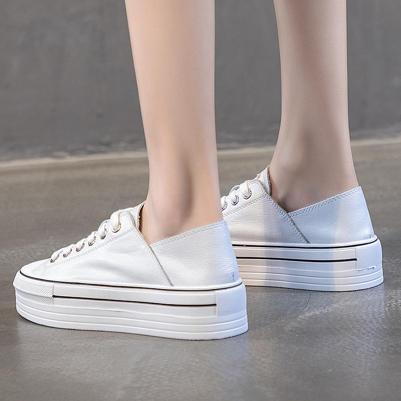 白色松糕鞋 厚底小白鞋女2021春季新款懒人脚踩两穿女单鞋休闲真皮白色松糕鞋_推荐淘宝好看的白色松糕鞋