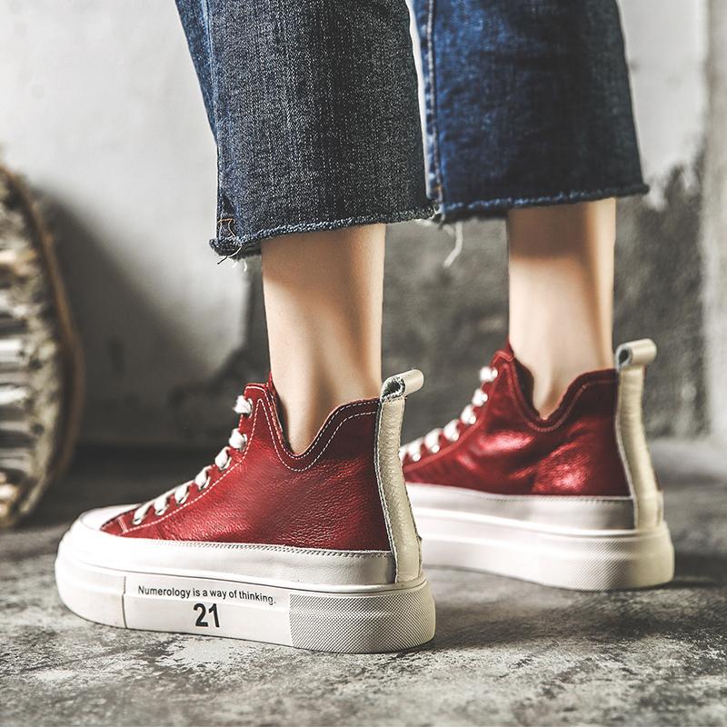 红色高帮鞋 2021春款新款休闲松糕厚底鞋女真皮红色V口嘻哈高帮牛皮小白鞋 潮_推荐淘宝好看的红色高帮鞋