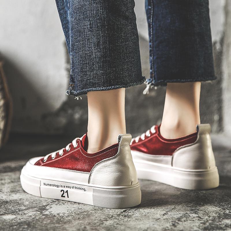 红色厚底鞋 2021春季新款百搭真皮小白鞋女松糕厚底鞋红色休闲板鞋低帮秋鞋潮_推荐淘宝好看的红色厚底鞋