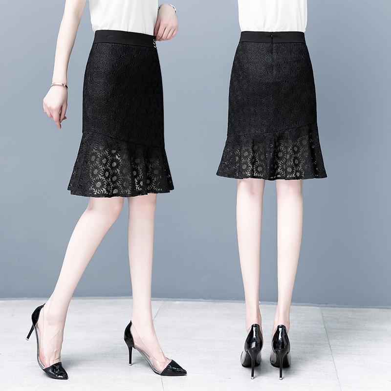 以纯半身裙 以纯荷叶边蕾丝鱼尾裙遮肉显瘦短裙夏装2021年新款时尚高腰半身裙_推荐淘宝好看的以纯半身裙