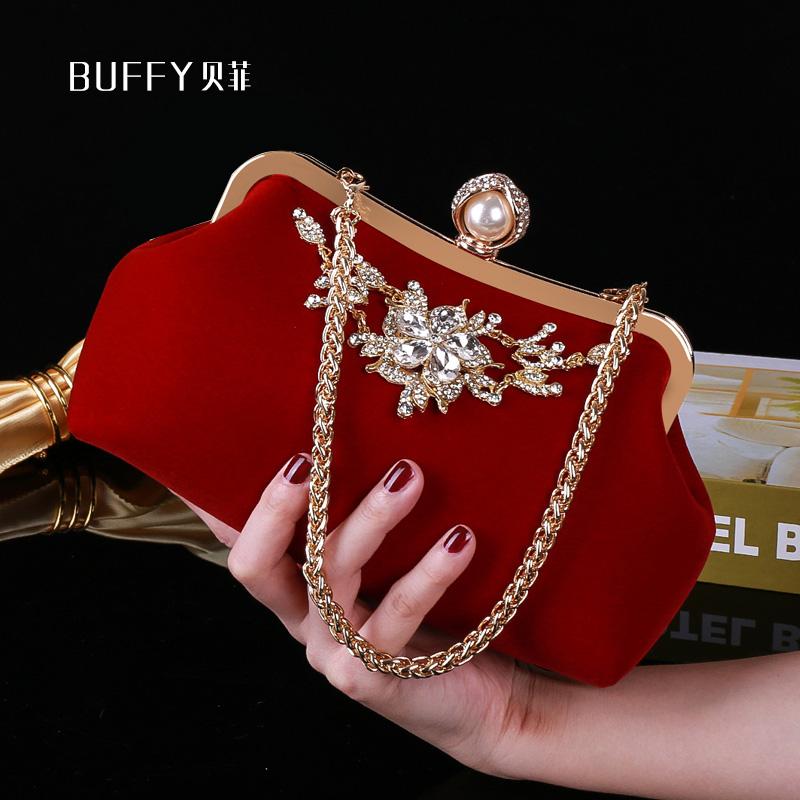 红色手拿包 2020新款结婚手包女婚礼新娘手拿包红色手提包配礼服包包旗袍小包_推荐淘宝好看的红色手拿包
