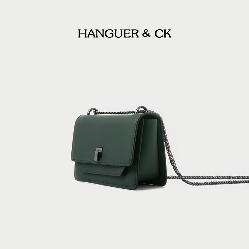 绿色链条包 HANGUER&CK 墨绿色腋下包小包包女2021年新款高级感链条包斜挎包_推荐淘宝好看的绿色链条包