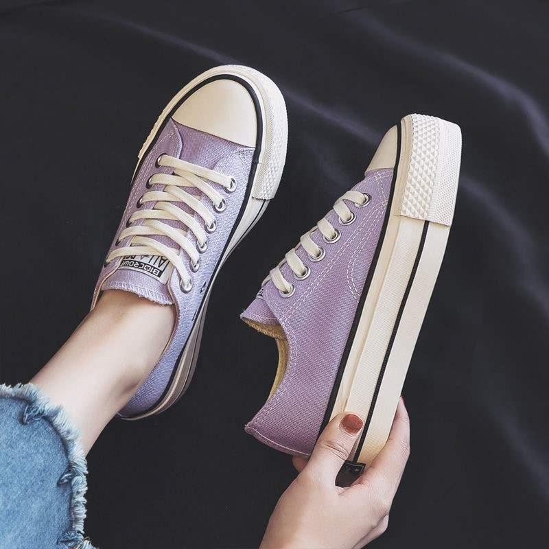 紫色松糕鞋 2021新款厚底香芋紫色帆布鞋女百搭布鞋低帮潮学生松糕小白鞋_推荐淘宝好看的紫色松糕鞋