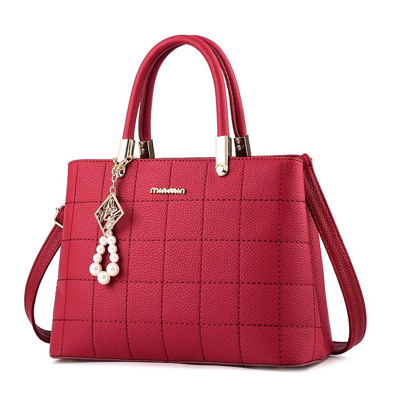 粉红色单肩包 大气欧美时尚女包手提包2020新款包包女斜挎单肩包绣线百搭女士包_推荐淘宝好看的粉红色单肩包