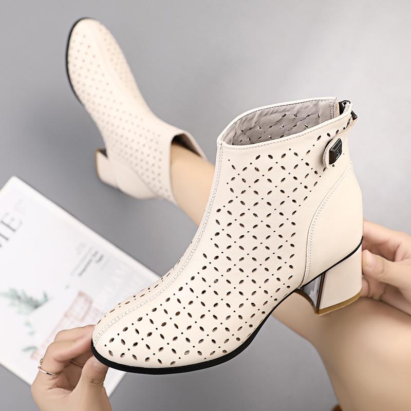 马丁短靴 镂空短靴马丁靴女春秋单靴2021新款夏季靴子女粗跟真皮洞洞靴凉靴_推荐淘宝好看的女马丁短靴