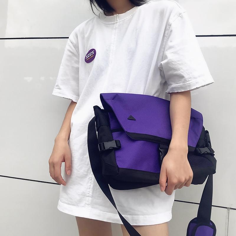 紫色邮差包 iMipack 紫色黄色刺绣网格单肩斜挎邮差包男女学生潮牌运动旅行包_推荐淘宝好看的紫色邮差包