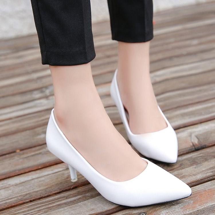 细高跟鞋 白色细跟高跟鞋3-5厘米低跟时尚单鞋女7-10公分新款单鞋女小码32_推荐淘宝好看的女细高跟鞋