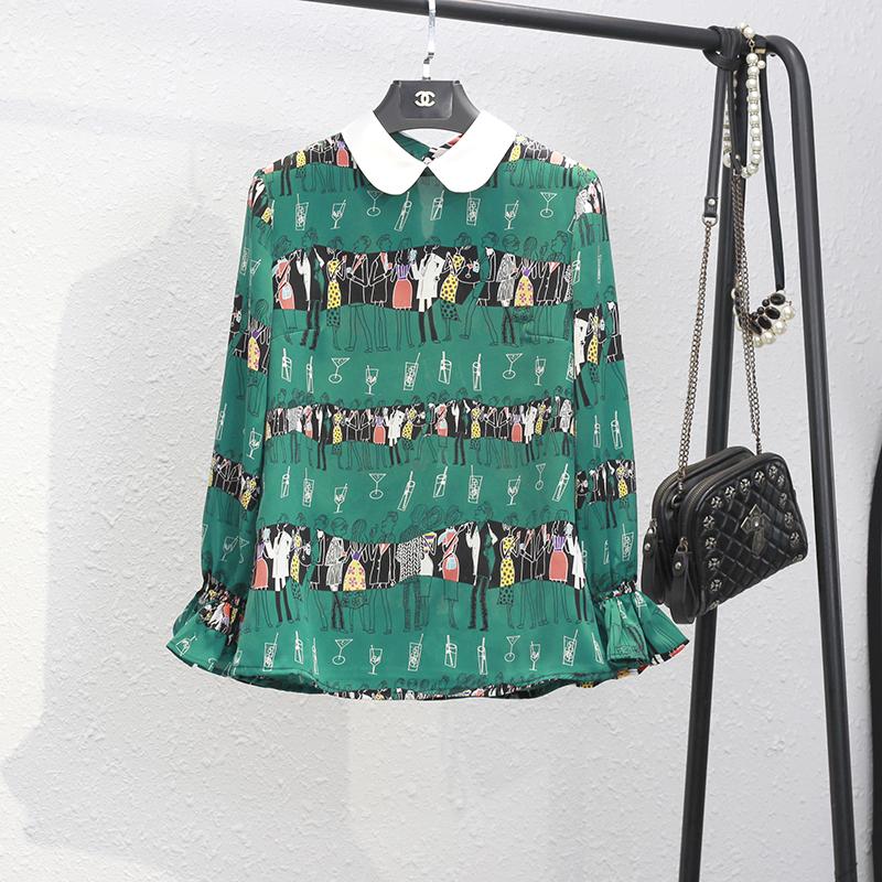 绿色雪纺衫 2021秋季新款绿色印花小翻领洋气显瘦减龄女上衣雪纺衫加绒有大码_推荐淘宝好看的绿色雪纺衫