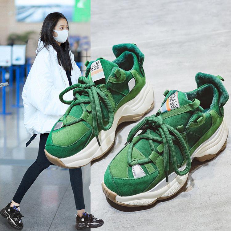 绿色厚底鞋 老爹鞋女ins潮2020春秋新款百搭厚底绿色休闲运动鞋网红跑步鞋子_推荐淘宝好看的绿色厚底鞋